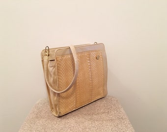 Vintage from the 60s - 70s - yellow snake skin bag - small bag - mod style made in the UK