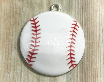 Baseball pendants etsy baseball pendant 35mm enamel pendant sports pendant white baseball diy necklace aloadofball Gallery