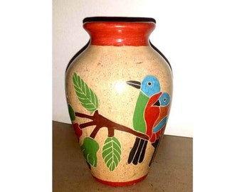 Vintage Folk Art Vase, Nicaraguan Pottery, South American, Folk Art, Nicaraqua, Pottery Vase, Clay Vase, Pottery Art Vase, Birds Vase