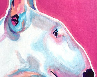 Bull Terrier, Pet Portrait, DawgArt, Dog Art, Pet Portrait Artist, Colorful Pet Portrait, Bull Terrier Art, Art Prints