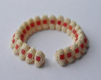 Cream and raspberry tila bangle