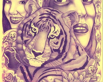 Original Prison Artwork - Tiger and Ladies and Flowers, Oh My!