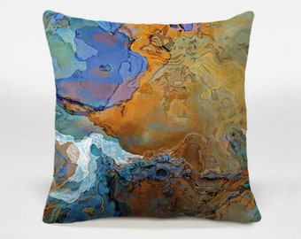 Decorative pillow cover with abstract art, 16x16 and 18x18 blue and brown accent pillow, throw pillow cover, Crossing
