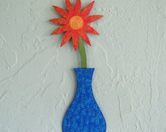 Metal flower sculpture vase home wall decor reclaimed metal wall art cobalt blue orange