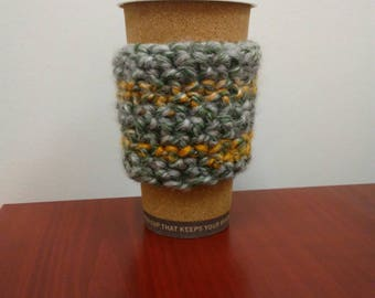 Green Gold and Gray Reusable Cup Sleeve