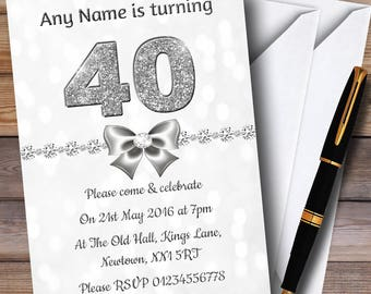 White Bokeh & Silver Glitter Look 40Th Personalised Birthday Party Invitations