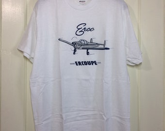 deadstock 1980s Erco Ercoupe small airplane t-shirt size XL 21x27 pilot aircraft thin white silver blue print Stedman made in USA NOS
