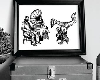 Phonograph BBoy Print, Dance, Breakdancing, Dancing, Fake History, Humor, Black and White, Wall Art, Home Decor, ART BY EALAN