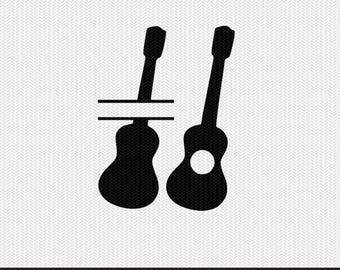 guitar monogram frames svg dxf file instant download silhouette cameo cricut downloads clip art