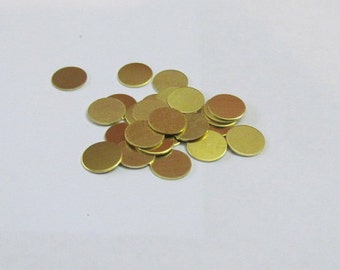 3/8  Brass Blanks  - Hand stamping metal disc  -Stamping Supplies 10 count or more