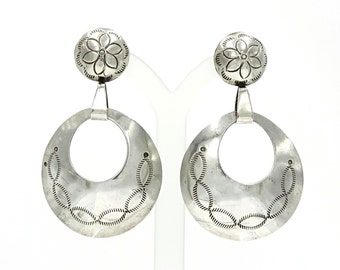Sterling Stamped Navajo Button And Hoop American Indian Crafted Earrings