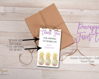 INSTANT DOWNLOAD - Pineapple Favor Tags - Tropical Luau Shower Party - Glitter Pink Pineapple Favor Tags Thank You 0219 0218 0214 0555 0556