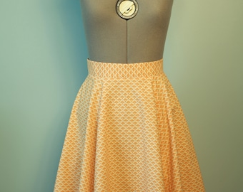 Handmade Vintage Style Orange Full Circle Skirt