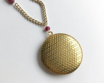 Regal Ruby Long Chain and Vintage Locket