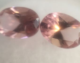 Pink tourmaline facet oval pair 6x 8.2mm