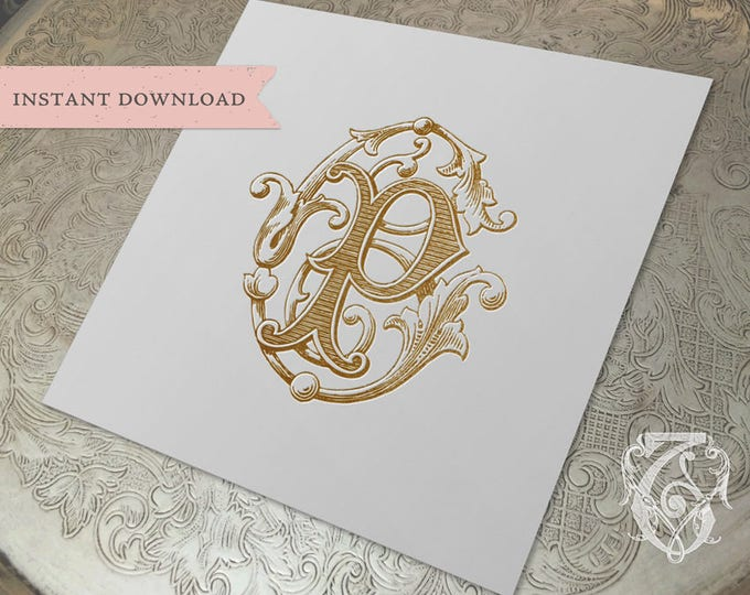 Vintage Wedding Monogram CP PC Wedding Duogram Digital Download C P