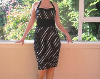 Polka Dot Dress 1950s Inspired Pin up Rockabilly with Sweetheart Neckline, Black Contrast and Pencil Skirt - custom made to fit