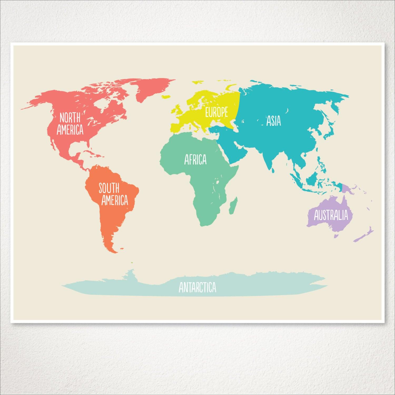 World map kids nursery room decor baby nursery art playroom zoom gumiabroncs Image collections