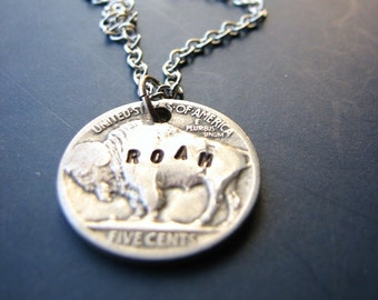 buffalo nickel necklace - where the buffalo roam - bison - hand stamped coin