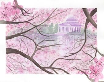 Pink Cherry Blossom Jefferson Memorial Watercolor Poster Print, Pink Sakura Jefferson Memorial DC Poster Print, Japanese blossom Washington