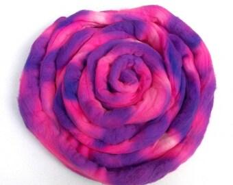 Pucker Up Pink and Purple Merino Roving