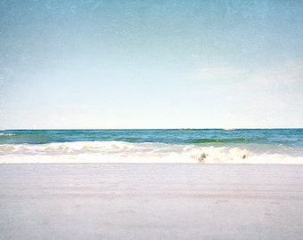 Beach Picture, Ocean Photography, Blue Seascape, Vintage Style, New England, Atlantic Coast, Aqua Blue, Turquoise, Dark Blue Water Photo