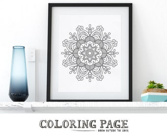 Instant Download Coloring Page Printable Mandala Floral Coloring Page Adult Coloring Book AntiStress Art Therapy Zen Digital Printable Art