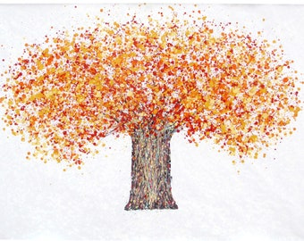 Very Large Abstract Autumn Tree Painting on Unstretched White Canvas    Orange Yellow and Red Hand Painted Modern Colour Canvas Wall Art