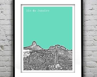Rio de Janeiro Poster Print City Skyline Art Brazil Version 2
