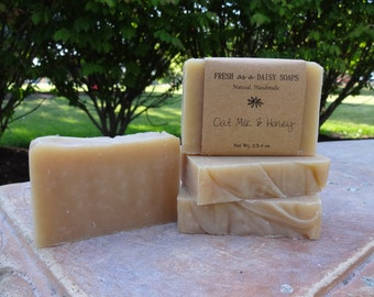 Oat Milk & Honey, Handmade Soap, Unscented, Cold Process Soap, Gluten Free, 100% Natural