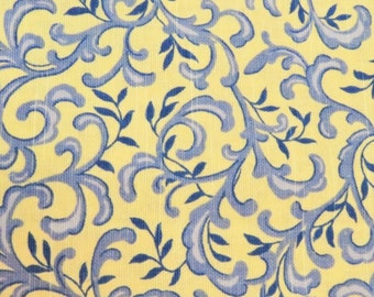 Yellow And Blue Paisley Fabric/ Home Decorator Fabric/ Cotton Fabric/  Floral Fabric Remnant