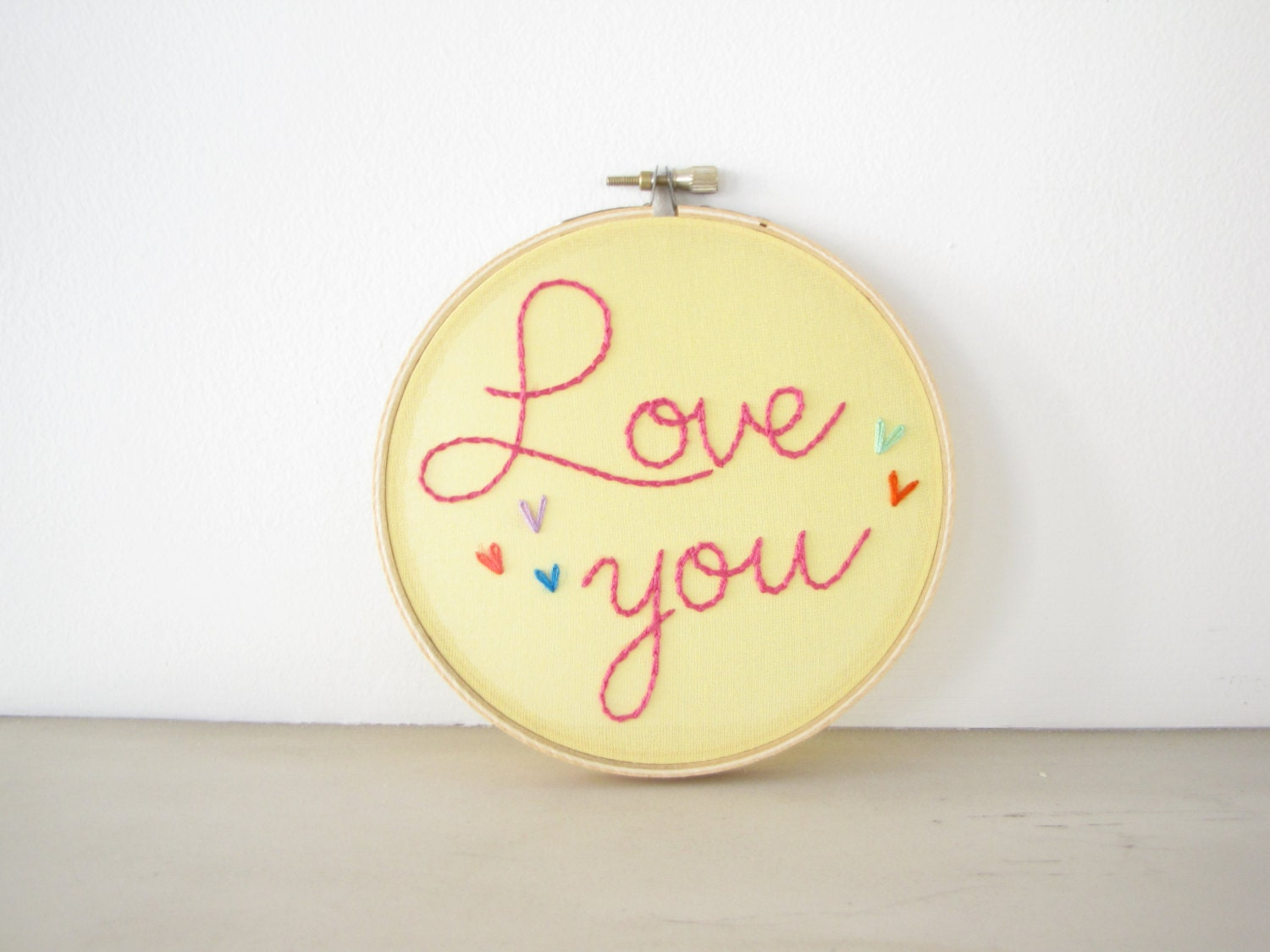 Love You Embroidery Hoop Wall Art yellow pink multicolor
