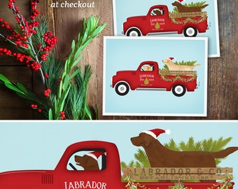 Labrador Retriever dog lab tree farm red truck Christmas Holiday giclee UNFRAMED brown or yellow