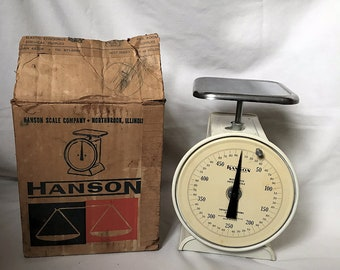 Hanson Dial Dietetic Scale with Stainless Steel Platform, Original Box and Direction Sheet Insert