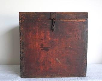 Red Box Wooden Manuscript Box Painted Box Antique Box