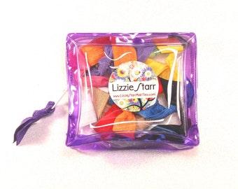 PURPLE ZIPPER POUCH - One Purple Zipper Pouch containing 10 Elastic Hair Ties / Bracelets / Hair Bands