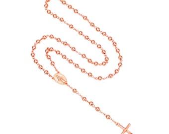 Catholic Handmade  Madonna Goddess Rose Gold Plated Trendy Long  Rosary Necklace Jewelry