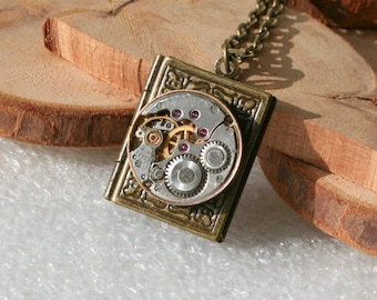Steampunk  jewelry. Steampunk Book  pendant  necklace with Watch Movement  , Steampunk jewelry . Clockwork Book  pendant  necklace