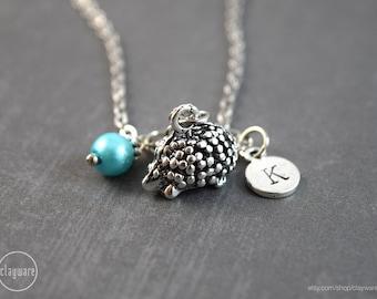 Hedgehog Necklace, Hedgehog Jewelry, Birthstone Jewelry, Birthstone Necklace, Woodland Pendant, Birthstone Jewelry, Woodland Jewelry