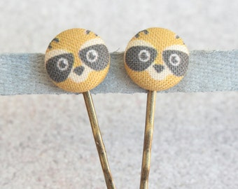 Racoons Fabric Covered Button Bobby Pin Pair