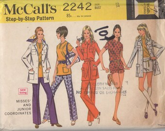 FACTORY FOLDED 1969 Misses' Jacket, Top, Pants or Shorts McCall's 2242 Size 12 Bust 34