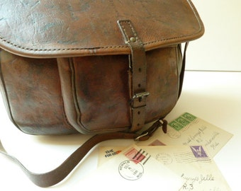French Vintage Postman Messenger Bag. Thick Leather, Lovely Patina. PTT Embossed.