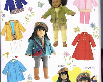 """18"""" Tall Doll Clothes Sewing Pattern - Doll Coat Pattern - Doll Pants Pattern - Doll Skirt - Doll Wardrobe - Craft Pattern - Simplicity 3551"""