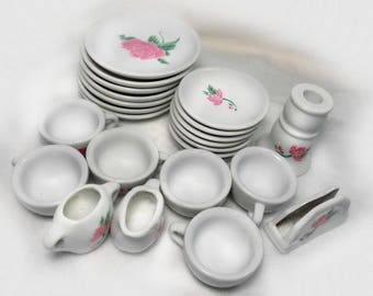 toy china tea set, child's play dishes,  tea party, gift for girls, farmhouse chic  - children's toy  - 24 pieces  # 17