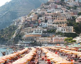 Italy Photography, August in Positano, Amalfi Coast, Italy, beach photography,Italian home decor, Positano Art, bedroom art, beach umbrellas