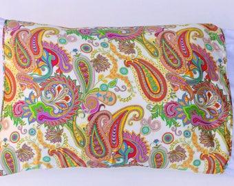 Boho Paisley Mulberry Silk Charmeuse Pillowscarf Pillowcase