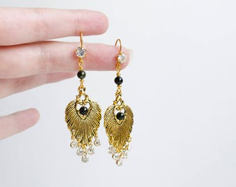 Serpentine leaf earrings  Long bohemian earrings  Natural stone gold earrings  Gypsy soul  Everyday outfit  Boho jewelry  Gift for Her