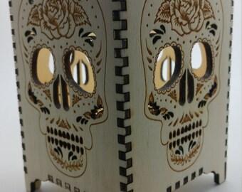 Day of the Dead Tea Light Lantern / Mexico / Sugar Skull / Dia De Muertos /  Skull / Halloween / Tattoo / Alternative