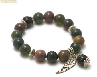 """Stone natural """"wing charm"""" bracelet, Indian agate"""