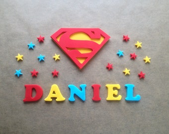 Edible fondant sugar personalised Superman logo cake topper set - Superman party